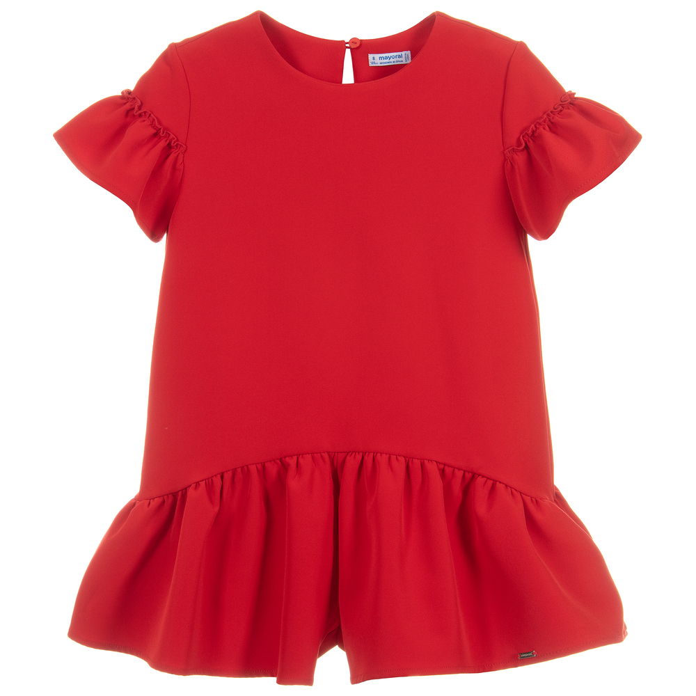 1c8a5ae724 Mayoral - Girls Red Ruffle Playsuit