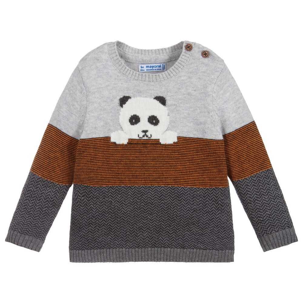 Grey Knitted Panda Sweater