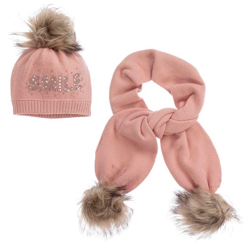 7ddf7e20d Pink Knit Hat & Scarf Set
