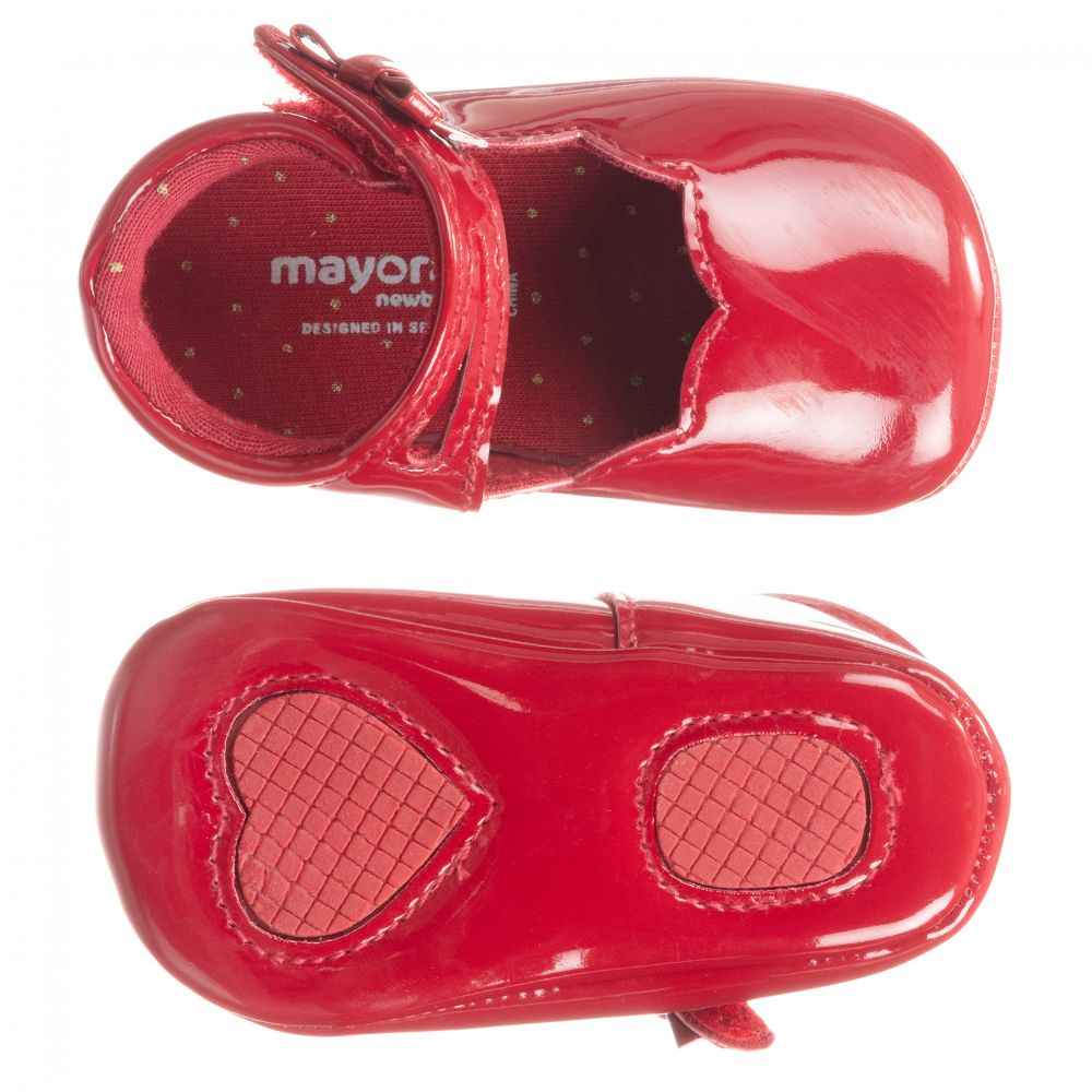 Mayoral Newborn - Red Patent Baby Shoes