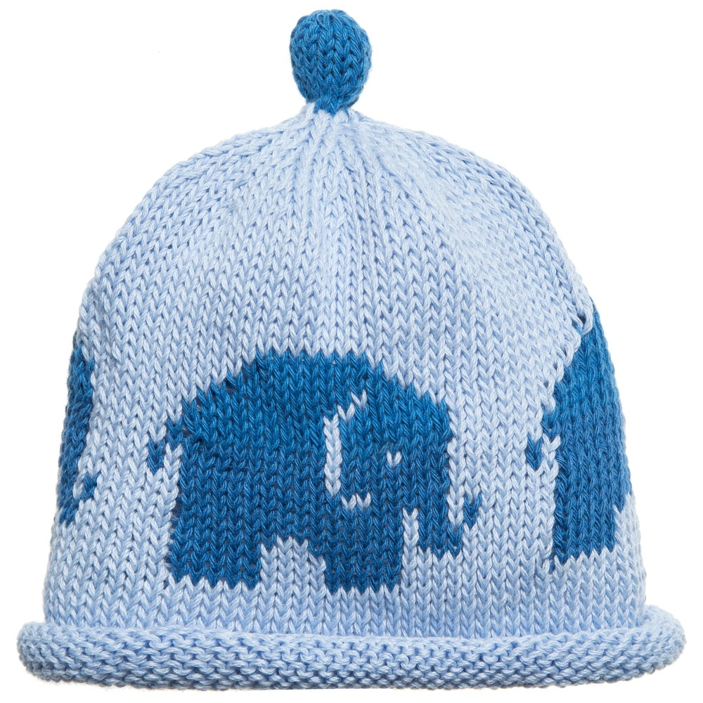 Merry Berries - Blue Cotton Knitted Hat  | Childrensalon