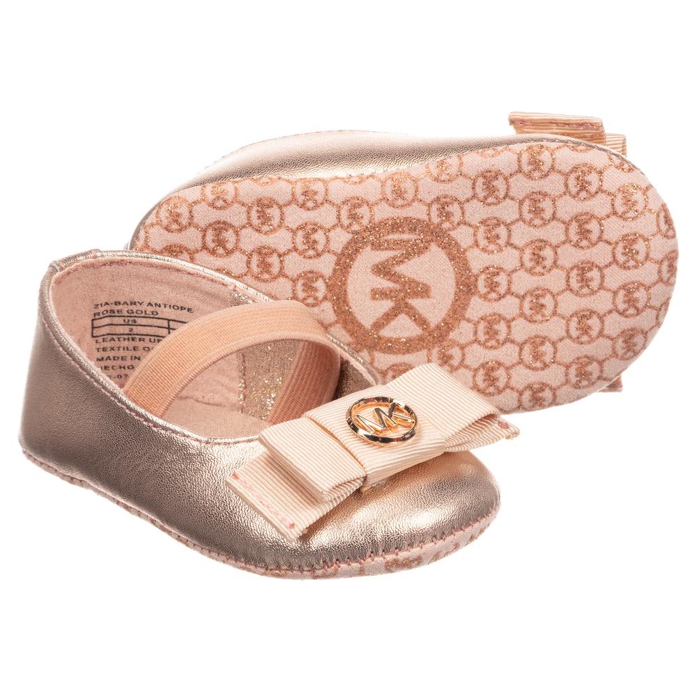 bcfac3263 Michael Kors - Rose Gold Ballerina Baby Shoes | Childrensalon