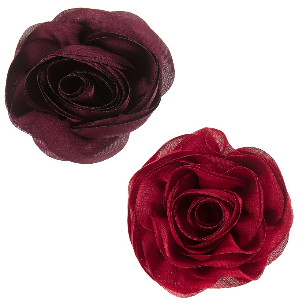 Milledeux - Girls Red Rose Hairclips (Pack of 2) | Childrensalon