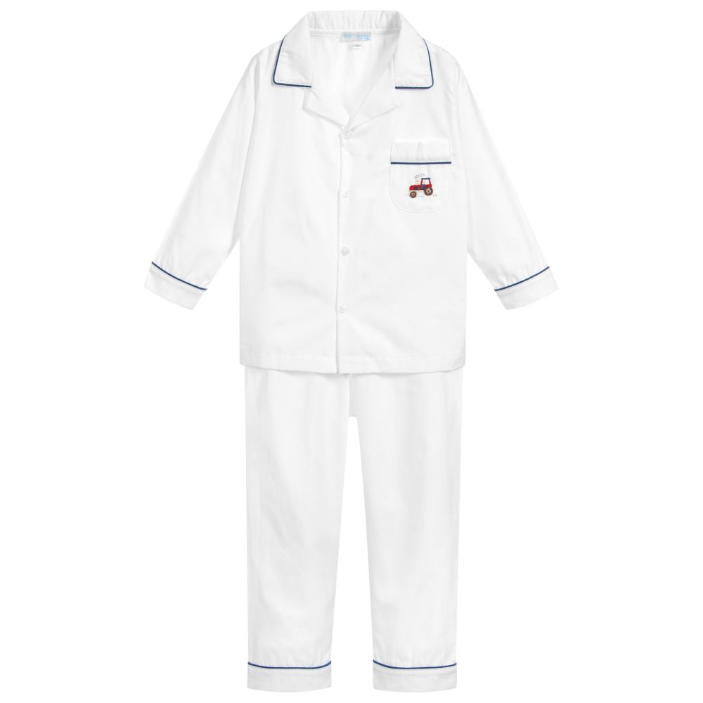 50bb746a3c Mini-La-Mode - Boys White Cotton Pyjamas