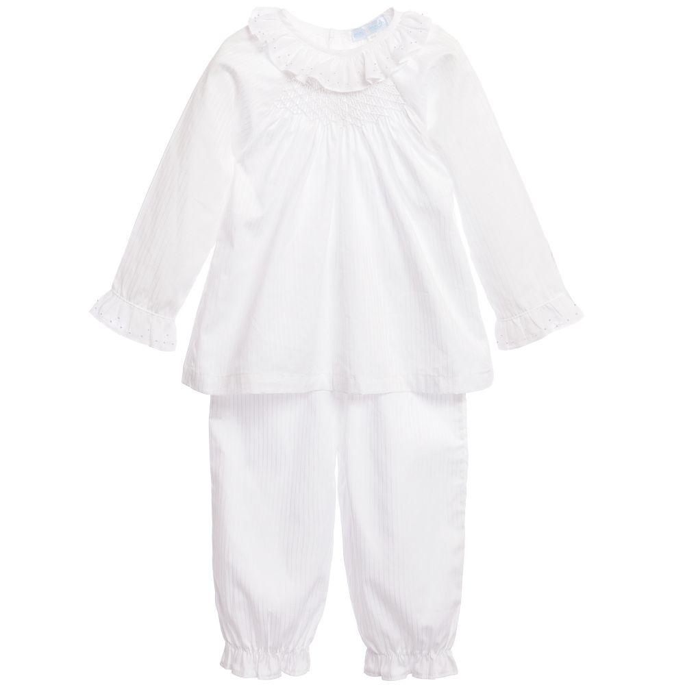 Mini-La-Mode - White Cotton Smocked Pyjamas   Childrensalon