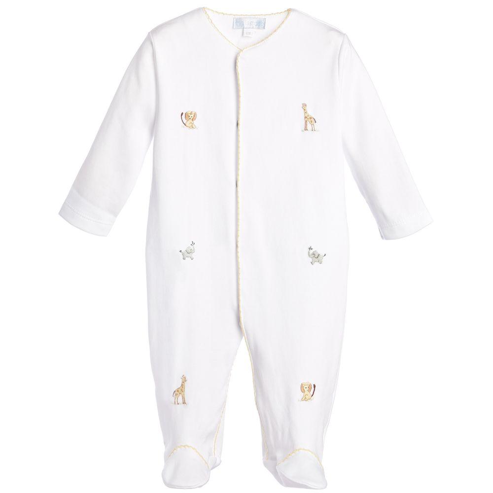 Mini-La-Mode - White Pima Cotton Babygrow   Childrensalon