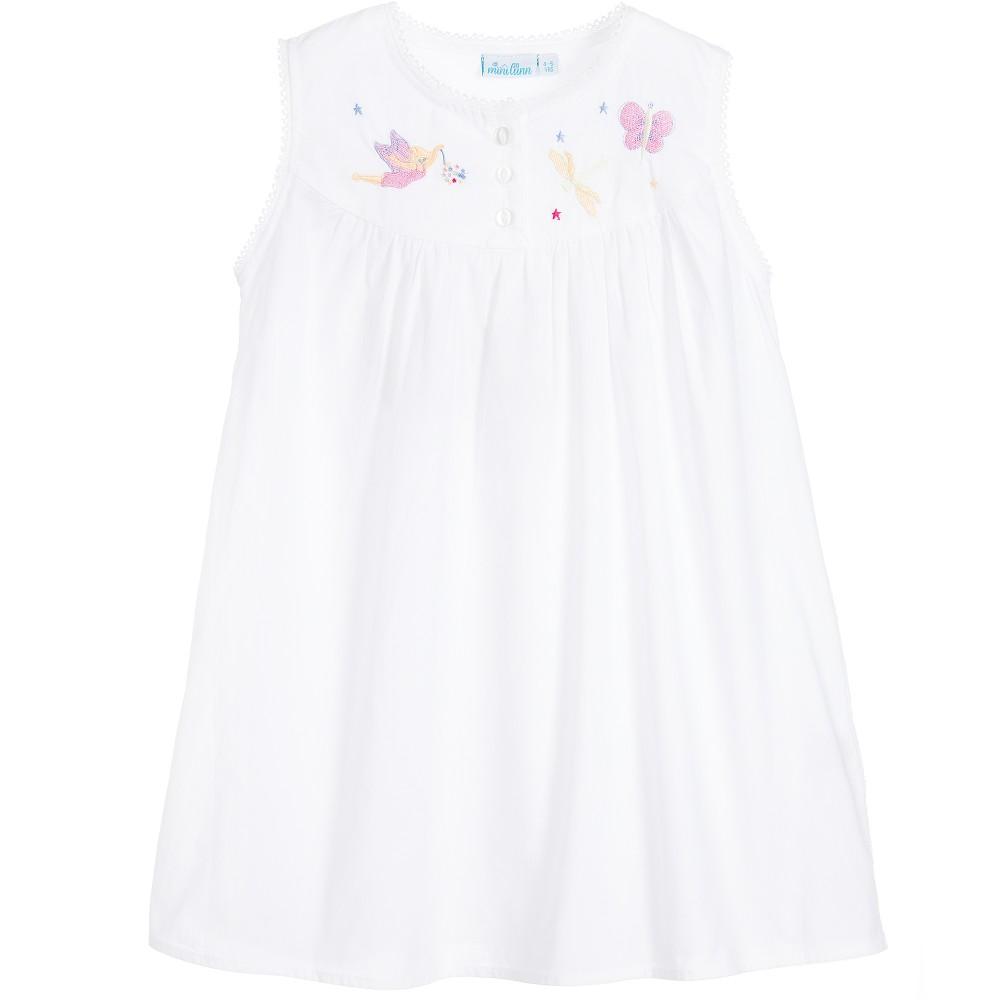Mini Lunn - Girls White Cotton 'Dragonfly' Nightdress | Childrensalon