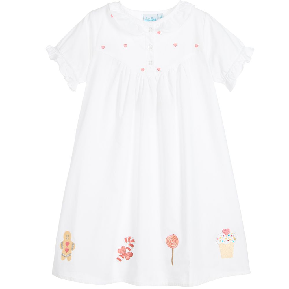 Mini Lunn - Girls White Cotton Nightdress | Childrensalon