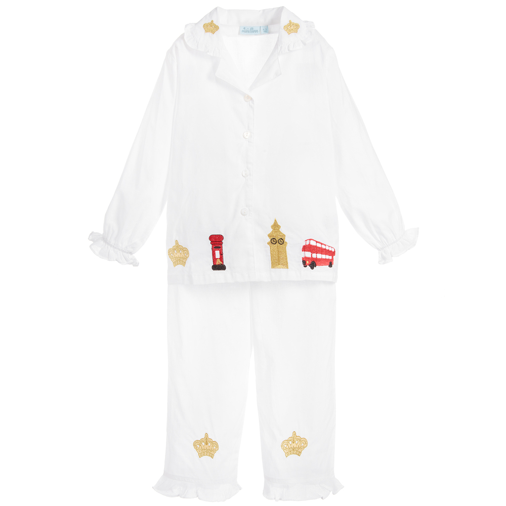 Mini Lunn - Girls White London Pyjamas | Childrensalon