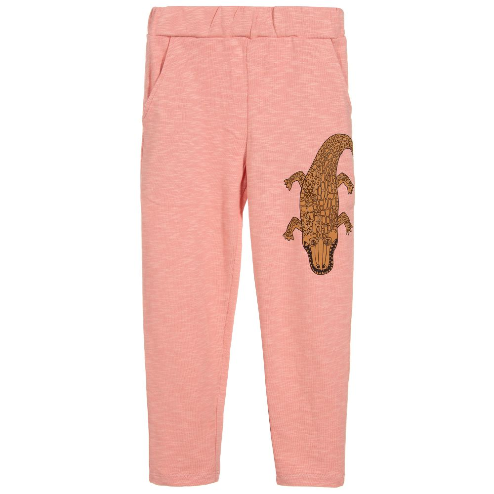 e351190b2 Mini Rodini - Pink Organic Cotton Joggers | Childrensalon