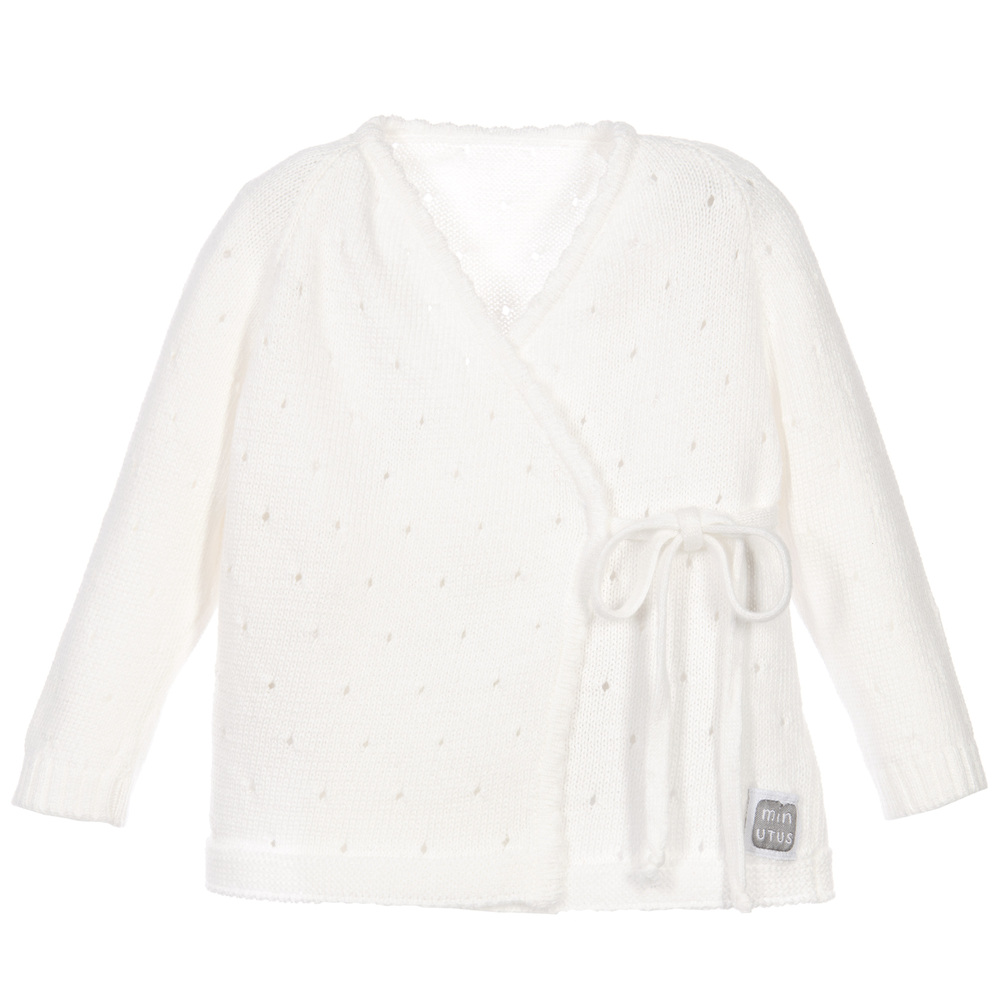 Minutus - Ivory Knitted Baby Cardigan | Childrensalon