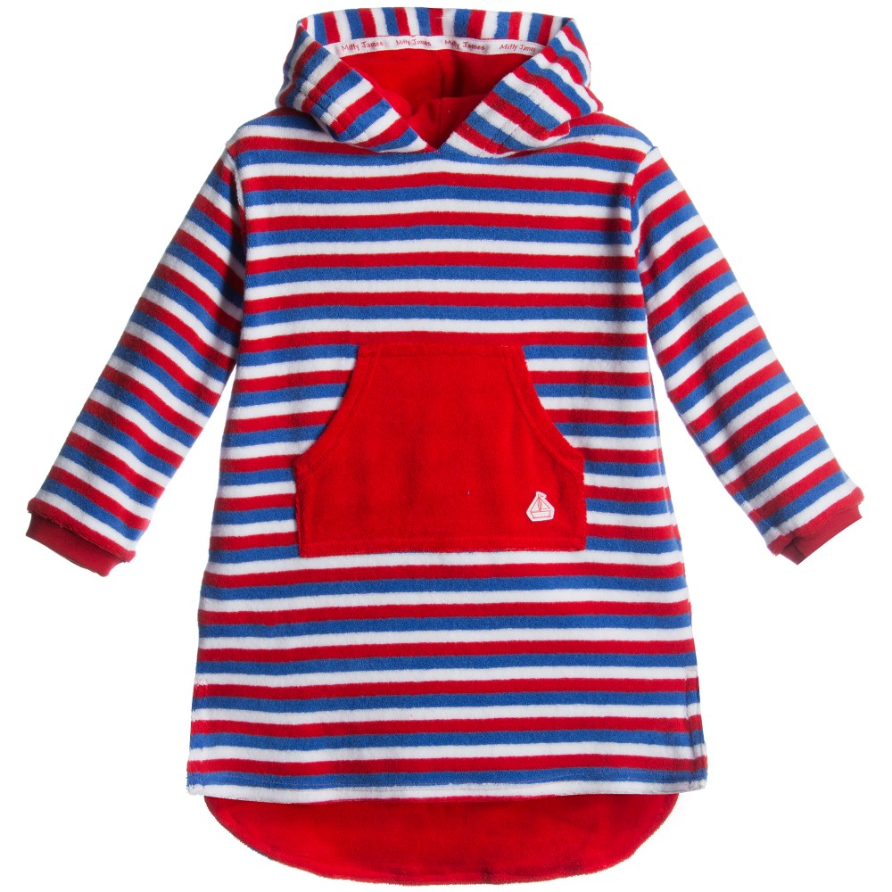 Mitty James - Blue & Red Striped Towelling Robe | Childrensalon