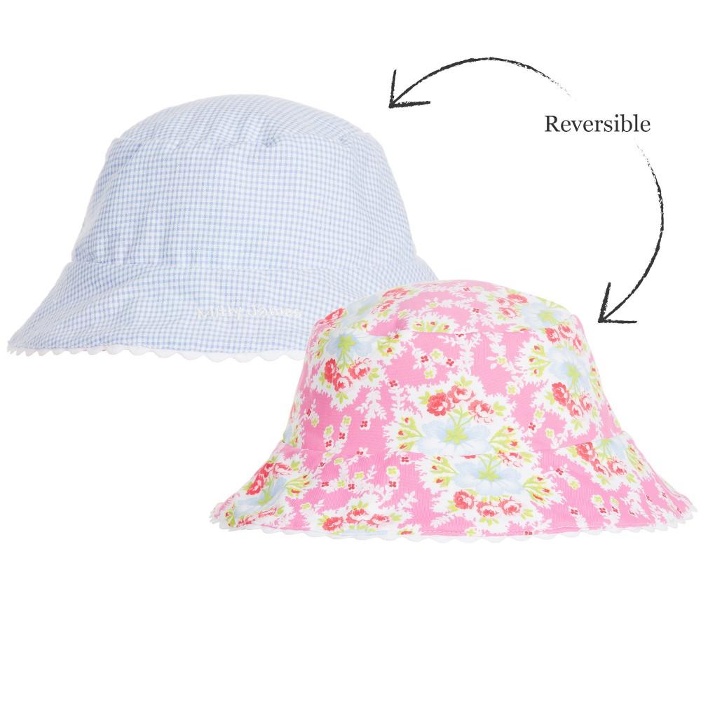 Mitty James - Girls Pink Floral & Blue Check Sun Hat | Childrensalon