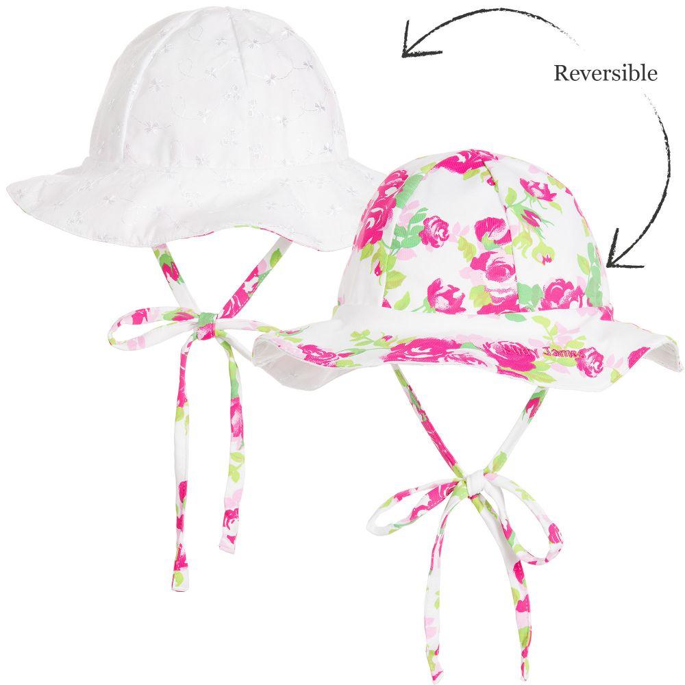Mitty James - Girls Pink Floral Reversible Sun Hat   Childrensalon