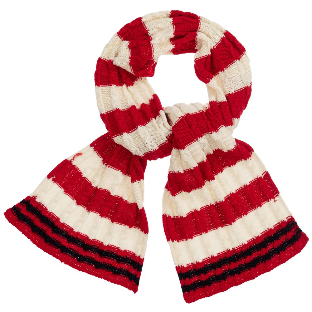 fb6fce04d2ee1 Mitty James - Red & White Cable Knitted Scarf (108cm)   Childrensalon