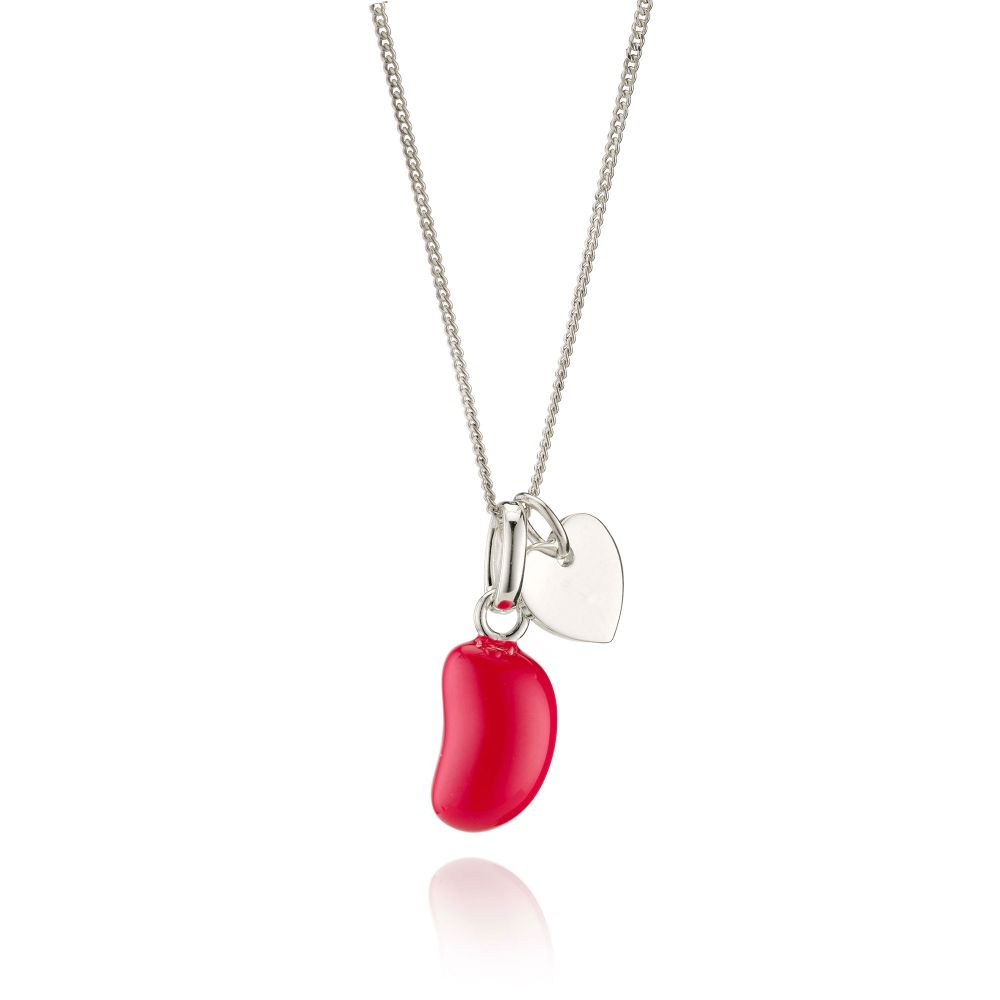 Molly Brown - Girls Silver & Raspberry Jelly Bean Necklace | Childrensalon