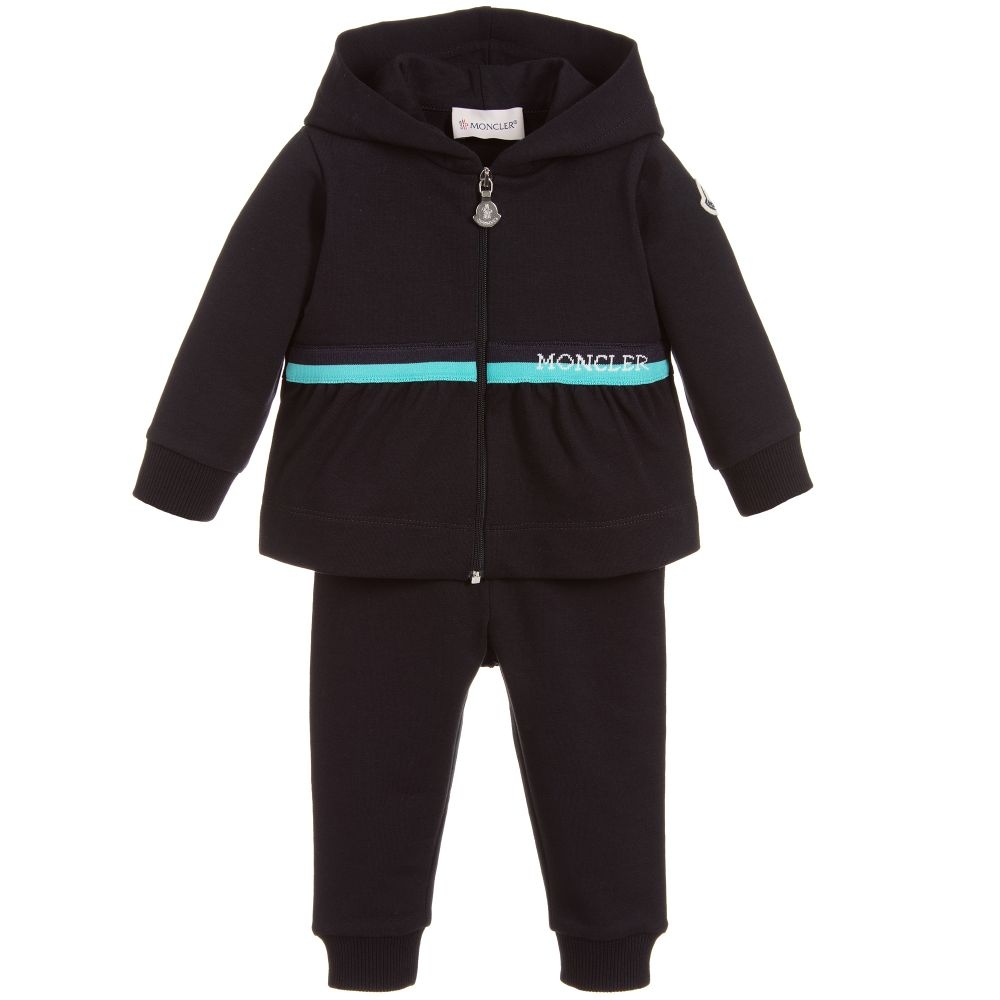 a921a5047 Moncler Enfant - Girls Blue Cotton Tracksuit | Childrensalon