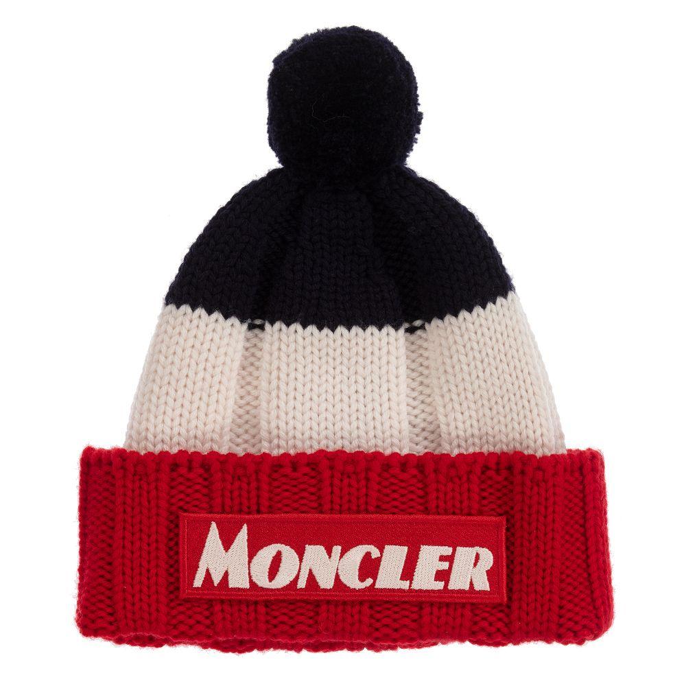 Moncler Enfant - Red & Blue Knitted Wool Hat | Childrensalon
