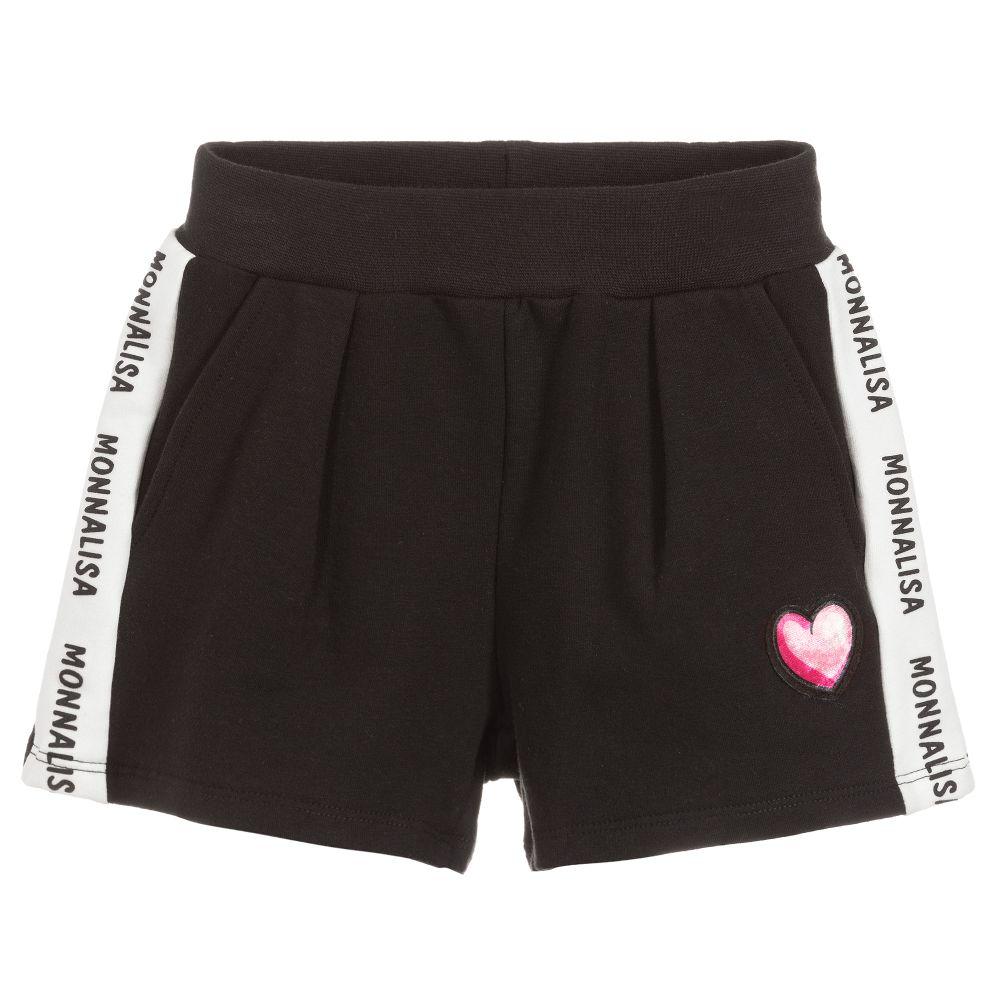 girls black cotton shorts