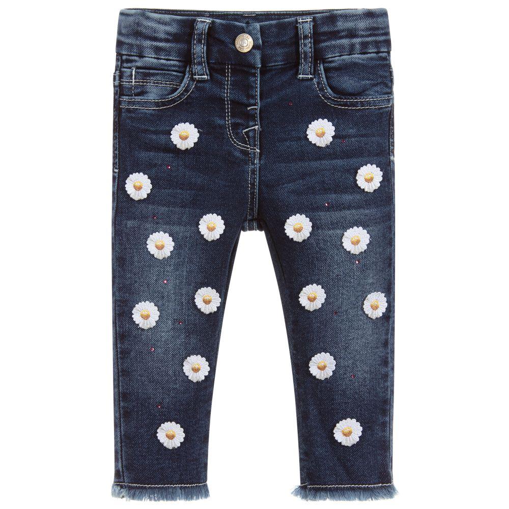 36137446f00ee Monnalisa Bebé - Girls Blue Daisy Denim Jeans   Childrensalon