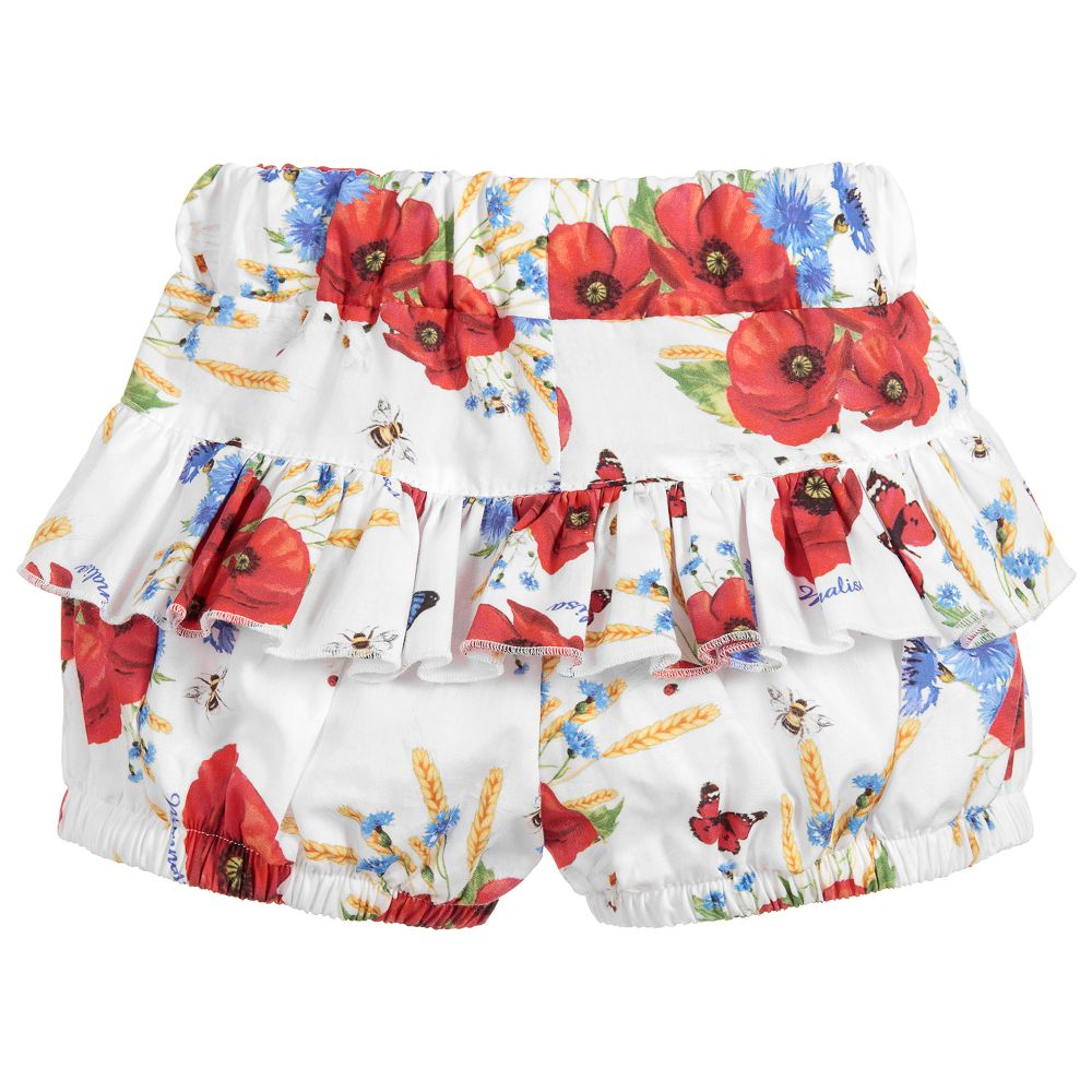 671177654 Monnalisa Bebé - Girls Floral Cotton Shorts