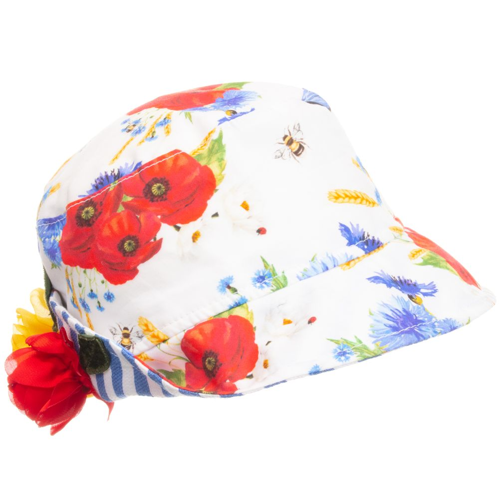 78fc7c5e0 Monnalisa Bebé - Girls Floral Cotton Sun Hat