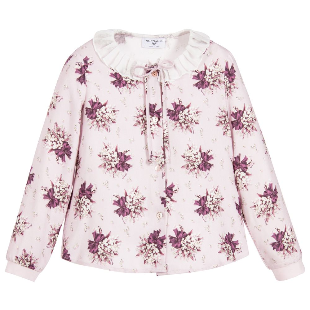 Monnalisa - Girls Lilac Floral Blouse | Childrensalon