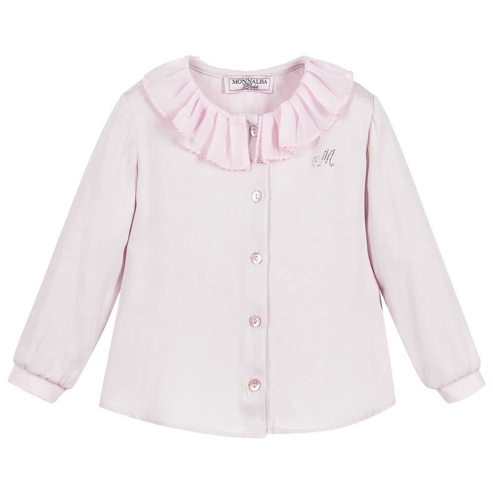 Monnalisa - Girls Lilac-Pink Ruffle Blouse | Childrensalon