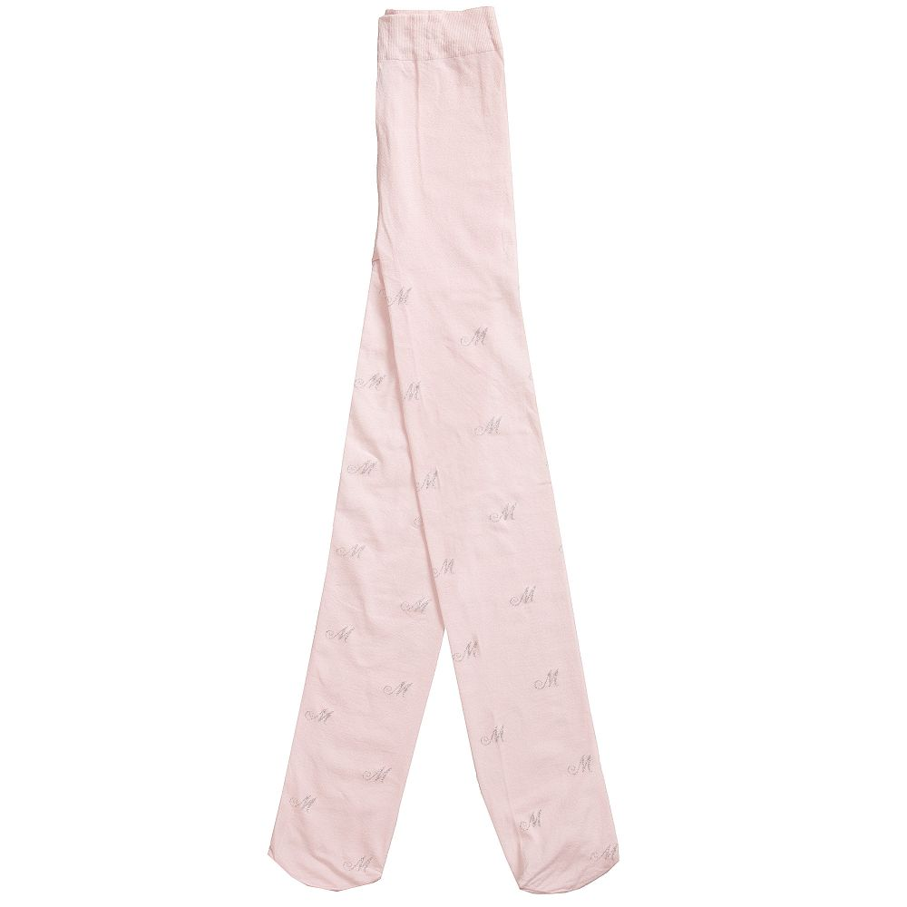 Monnalisa - Girls Pink Fine Knit Tights | Childrensalon