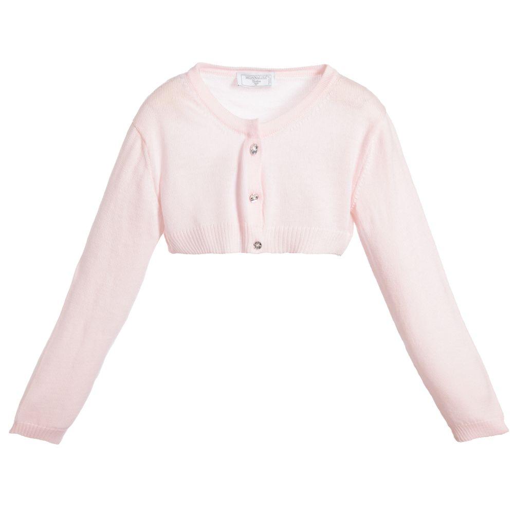Monnalisa Couture - Girls Pink Wool Cardigan  | Childrensalon