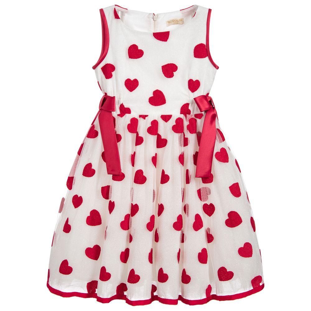 e1ed9dc01dff Monnalisa Chic - Girls Red Hearts Dress | Childrensalon