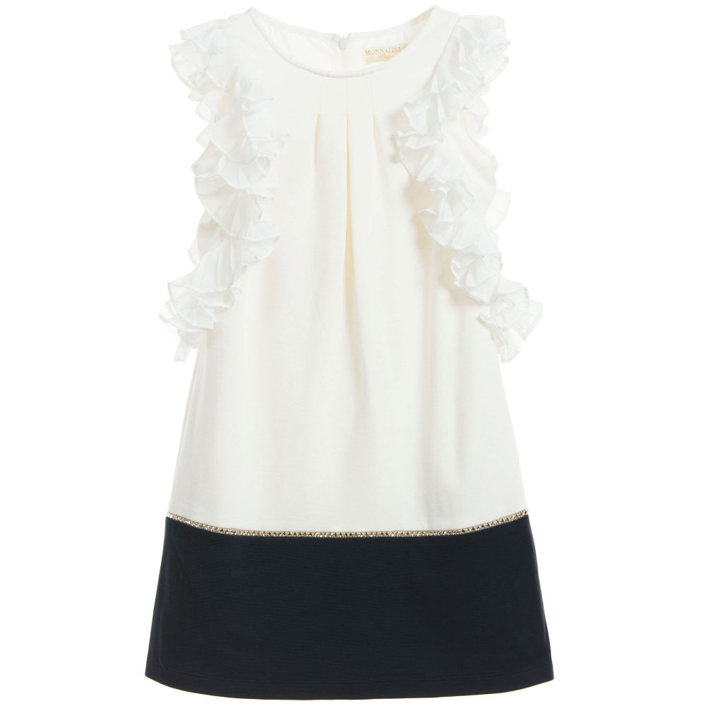 Monnalisa Chic - Ivory Jersey Dress with Ruffle Chiffon Sleeves | Childrensalon