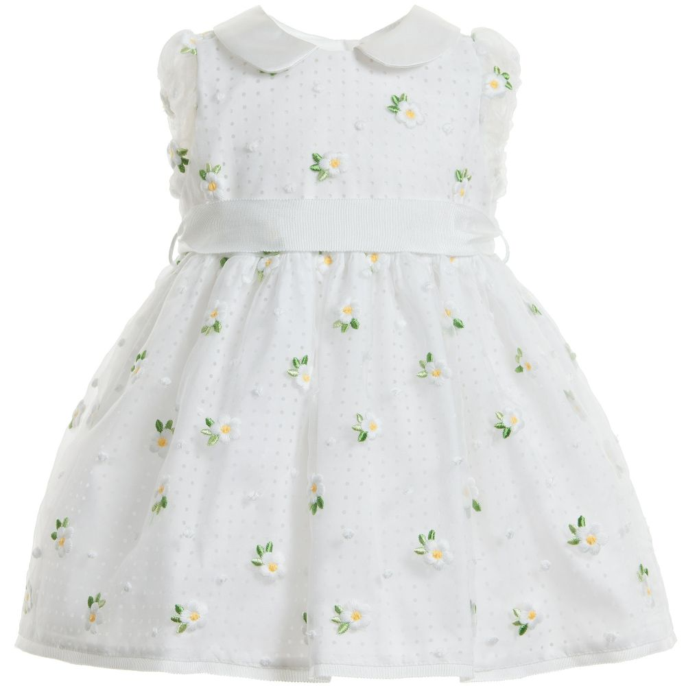 Monnalisa Chic - Organza Daisy Embroidered Dress | Childrensalon