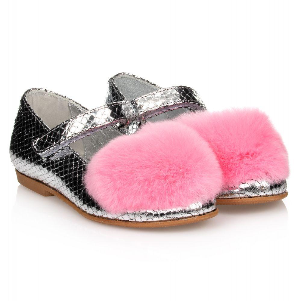 Silver \u0026 Pink Fur Heart Shoes
