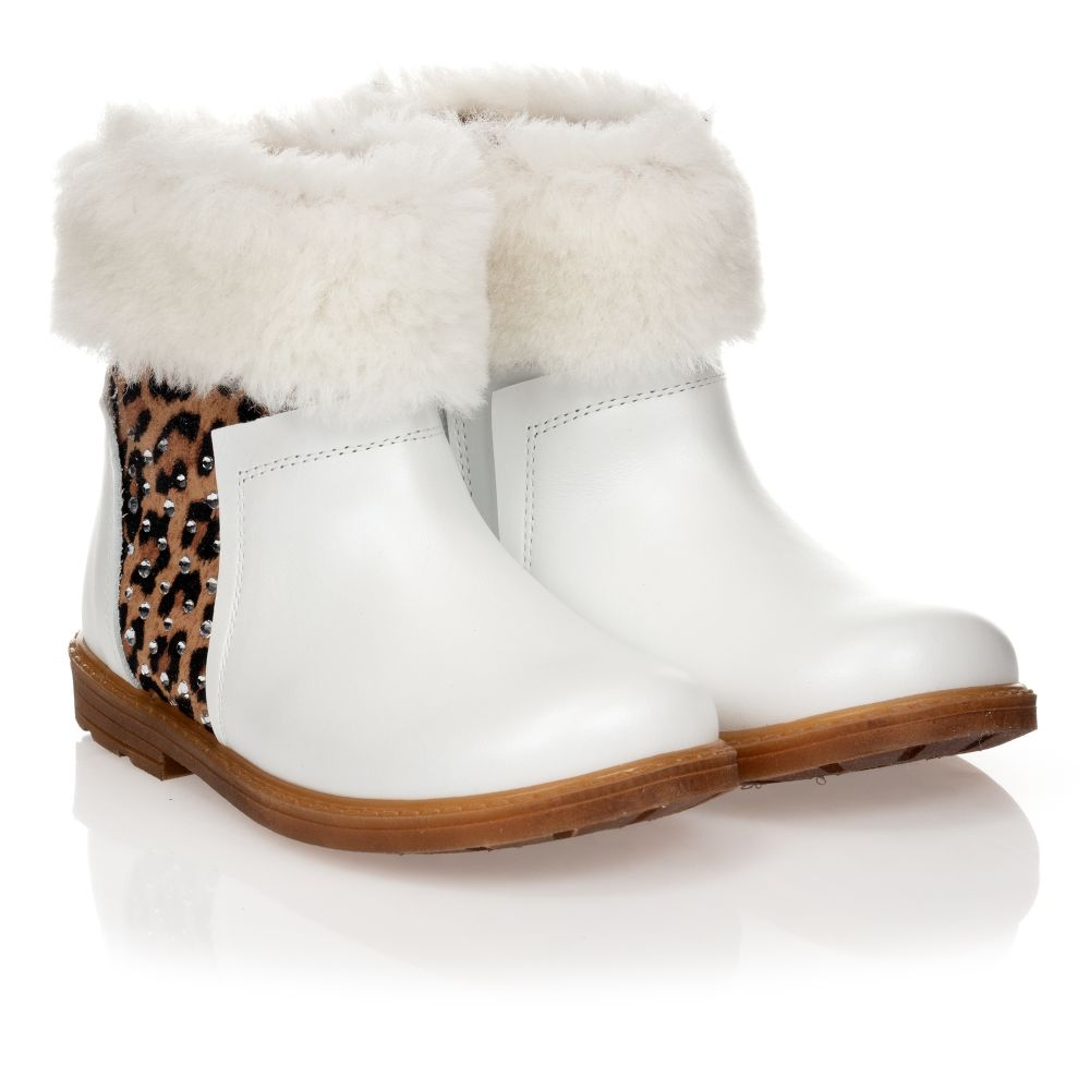 Monnalisa - White Leather Ankle Boots