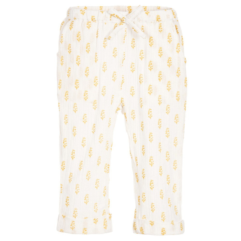 Moon et Miel - Baby Girls Ivory & Gold Trousers | Childrensalon