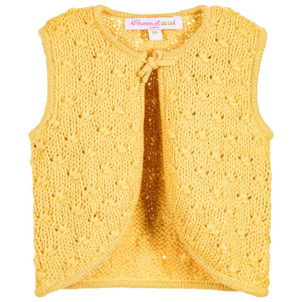 et Miel - Baby Girls Mustard Yellow Cardigan | Childrensalon