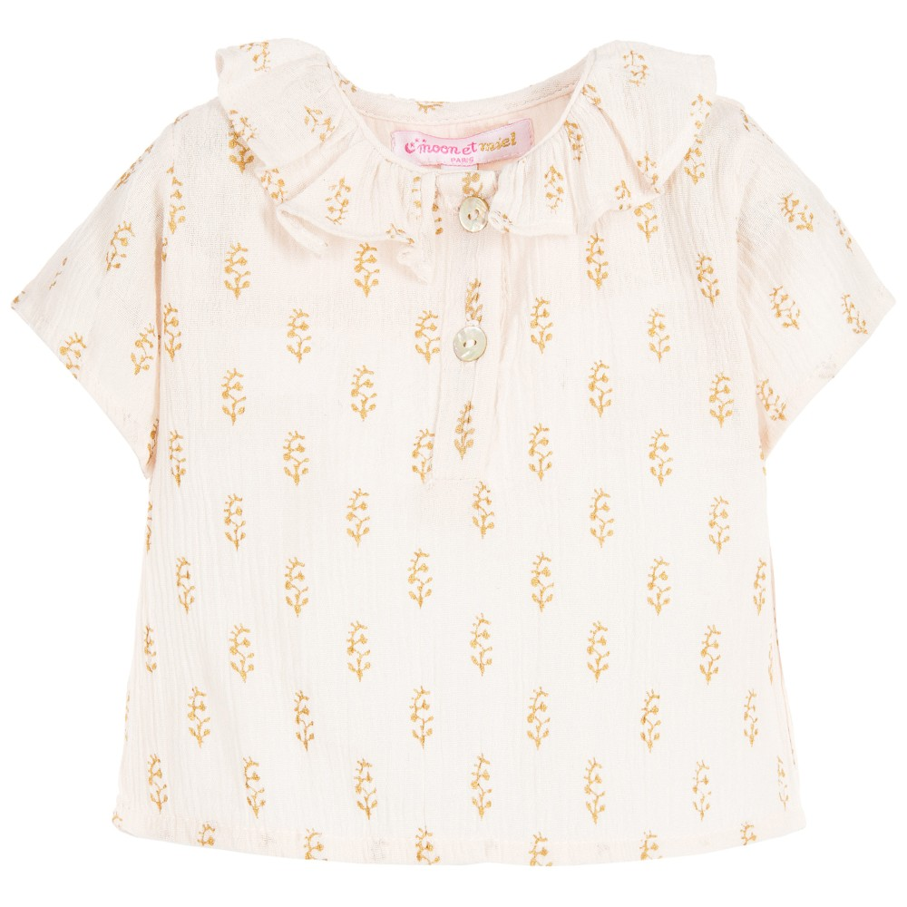 Moon et Miel - Baby Girls Pink & Gold Blouse | Childrensalon