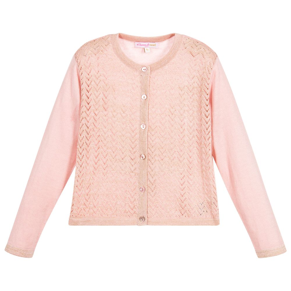 et Miel - Girls Pink & Gold Cardigan | Childrensalon