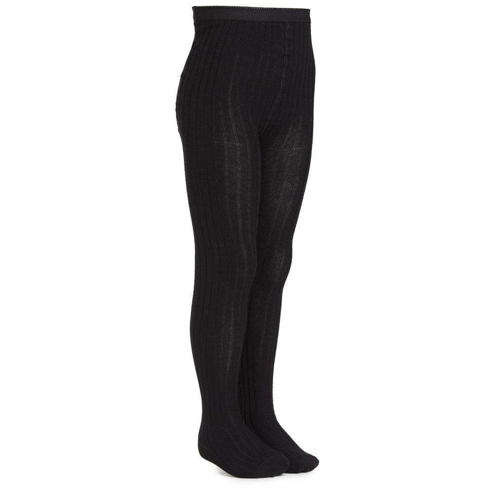 MP - Black Cotton Ribbed Tights | Childrensalon