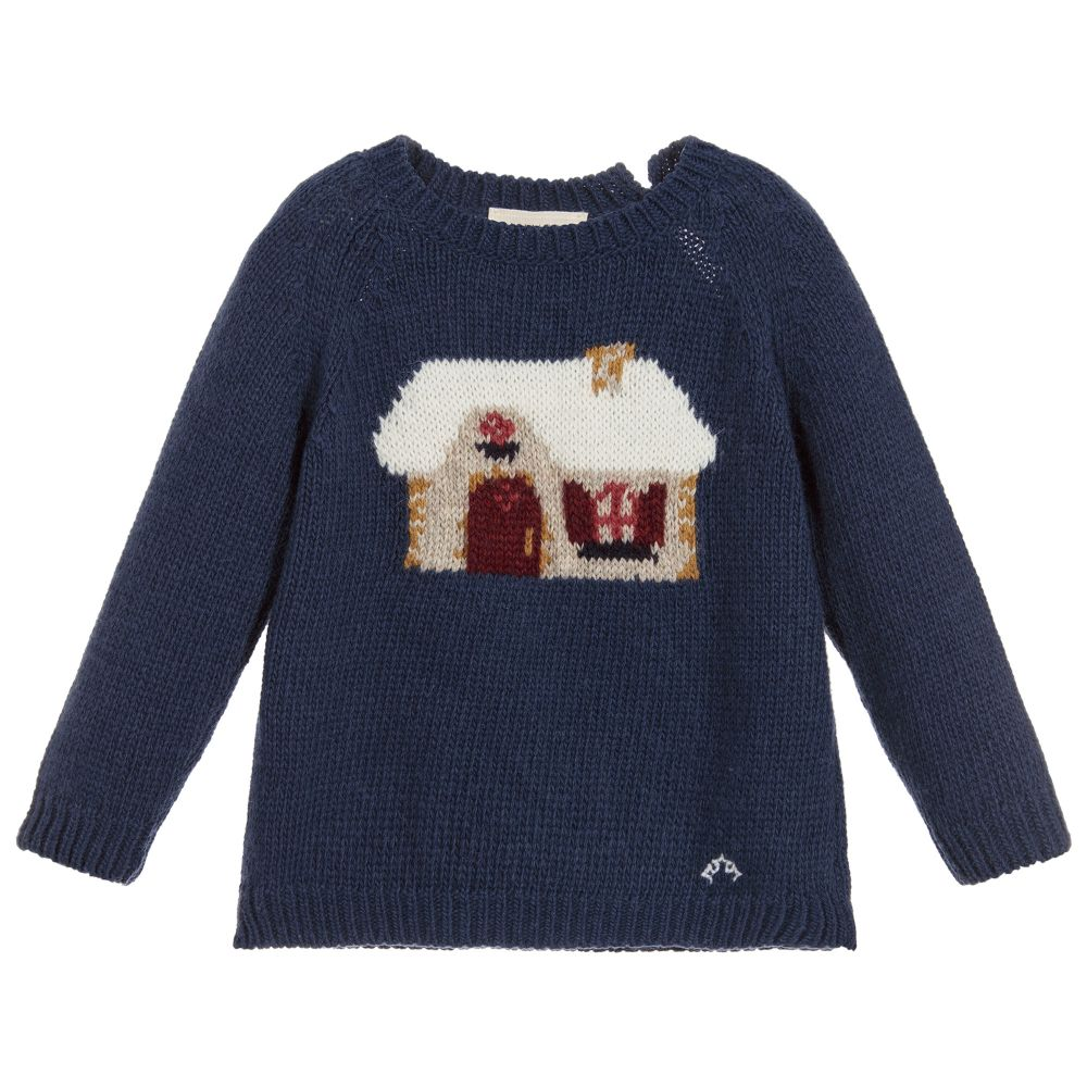 Boys Blue Knitted Wool Sweater