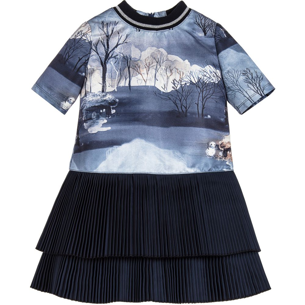 Pan Con Chocolate - Girls Blue Pleated Dress | Childrensalon
