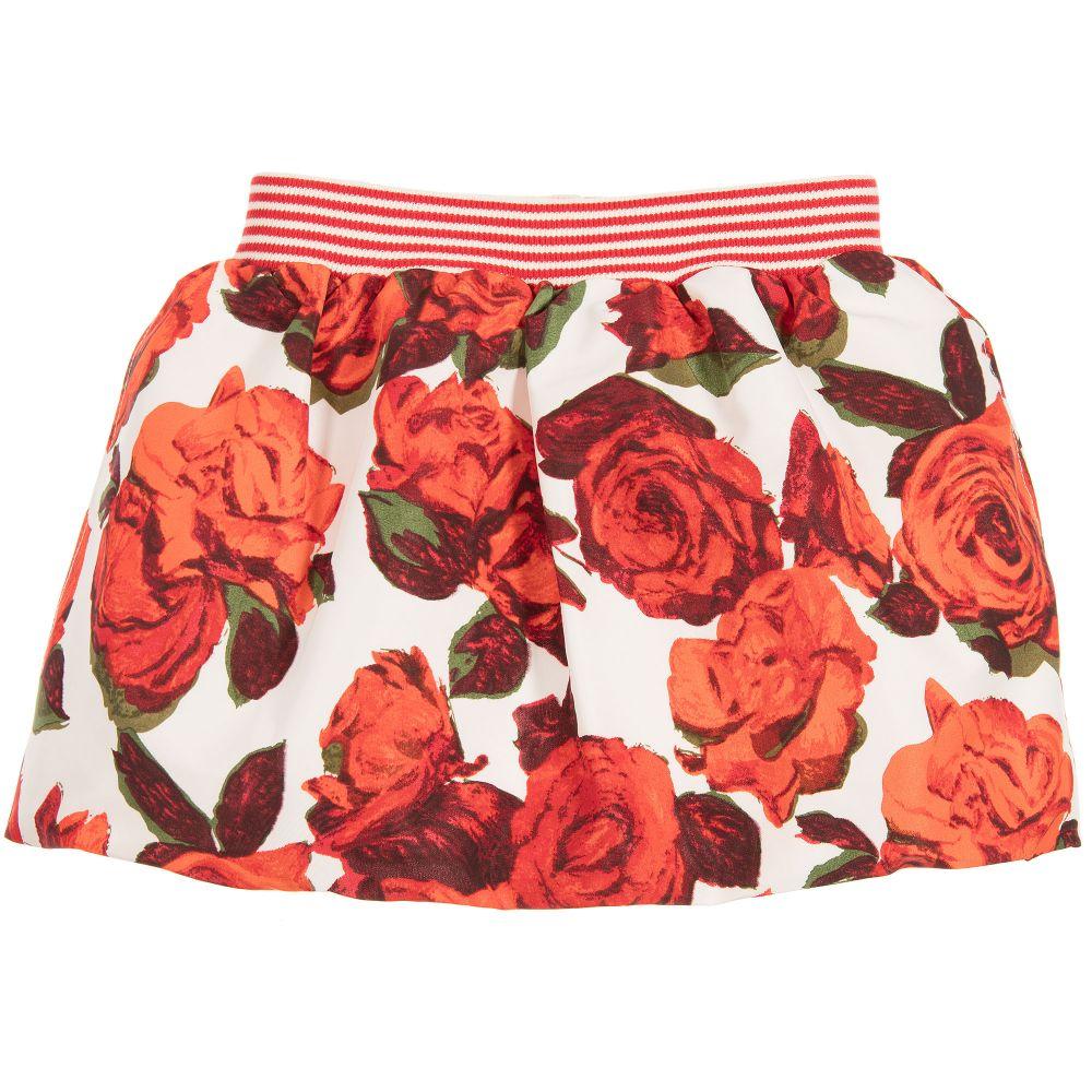 Pan Con Chocolate - Girls Rose Print Skirt   Childrensalon
