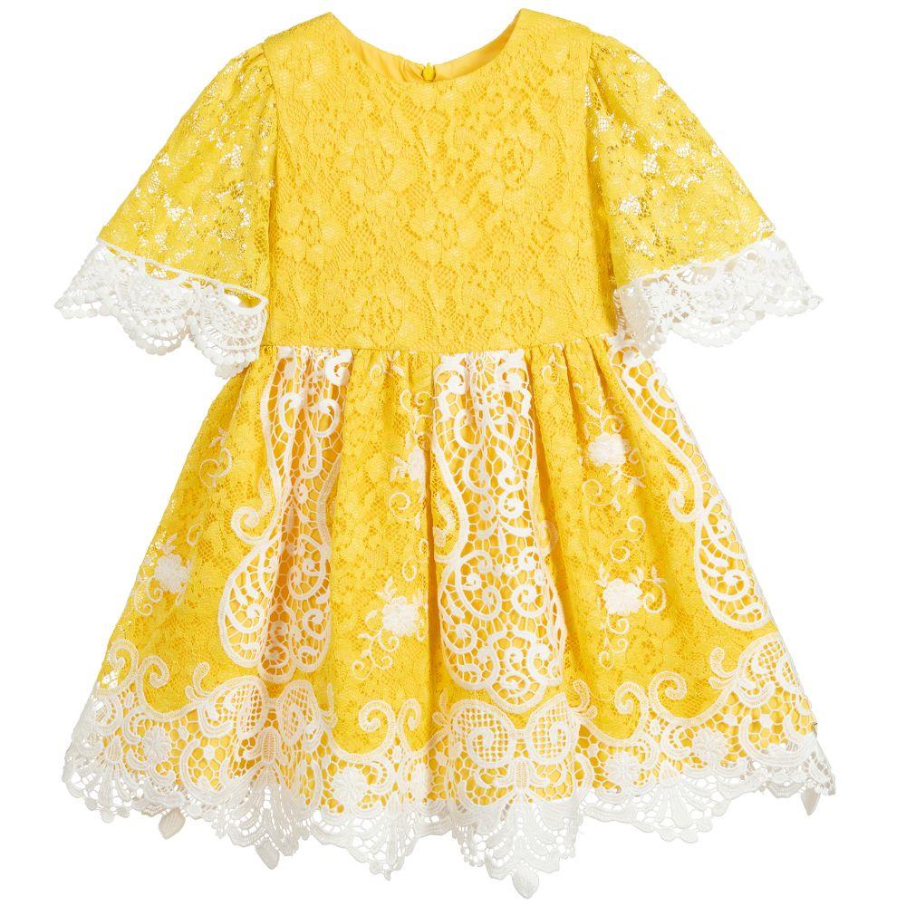 Yellow White Lace Dress