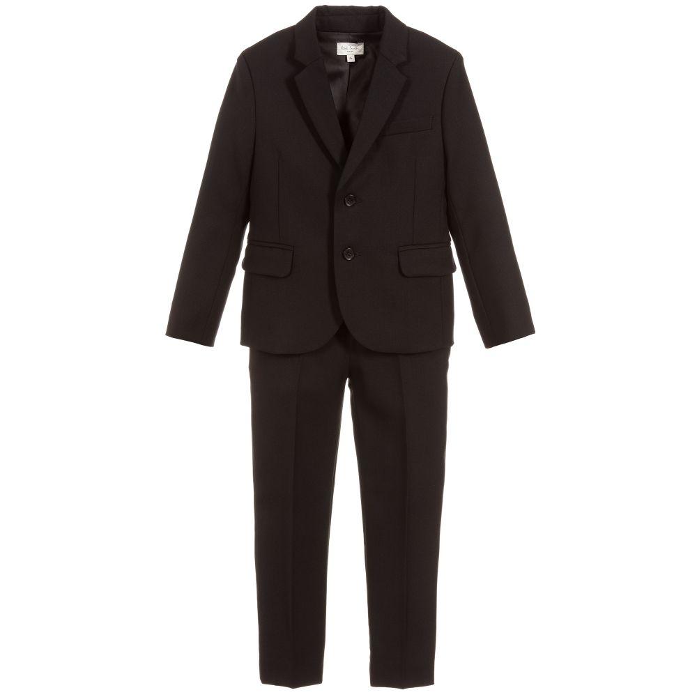 Boys Black Wool Suit