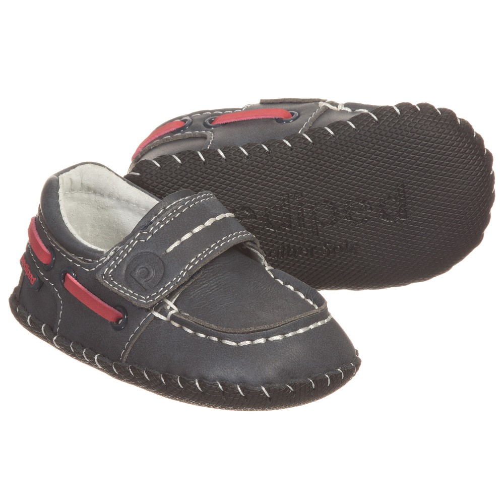 Pediped Originals (0-24mth) - Baby Boys 'Norm' Navy Blue Leather Shoes  | Childrensalon