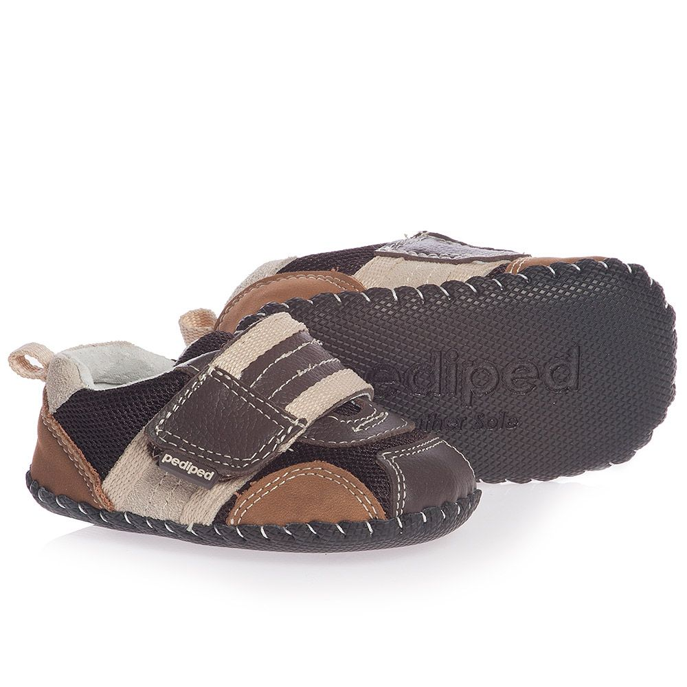 Pediped Originals (0-24mth) - Boys Brown Leather 'Adrian' Pre-Walker Trainers | Childrensalon