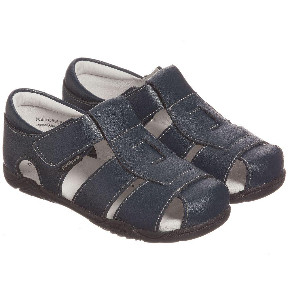 Pediped Flex (1-12yr) - Boys Navy Blue Leather Sandals | Childrensalon