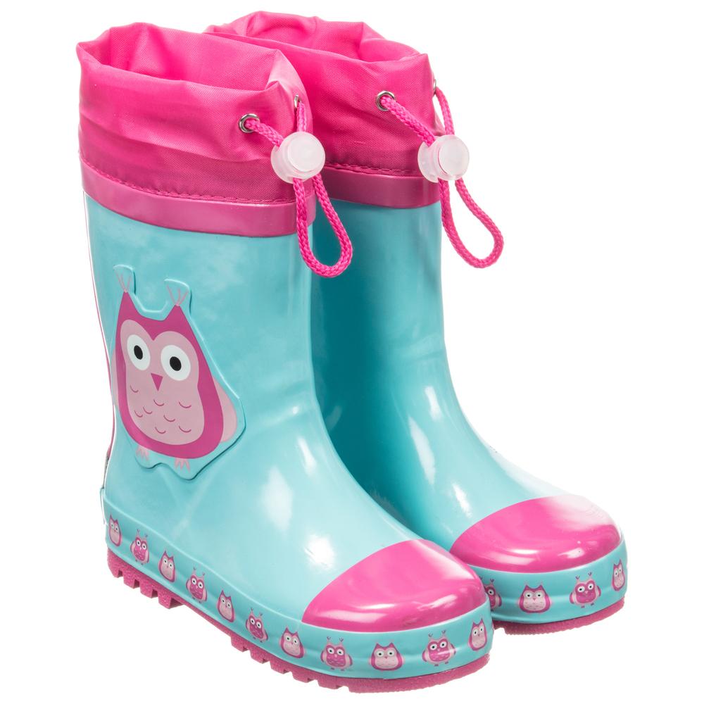58912378d3 Playshoes blue pink owl rain boots childrensalon jpg 1000x1000 Blue and pink  boots