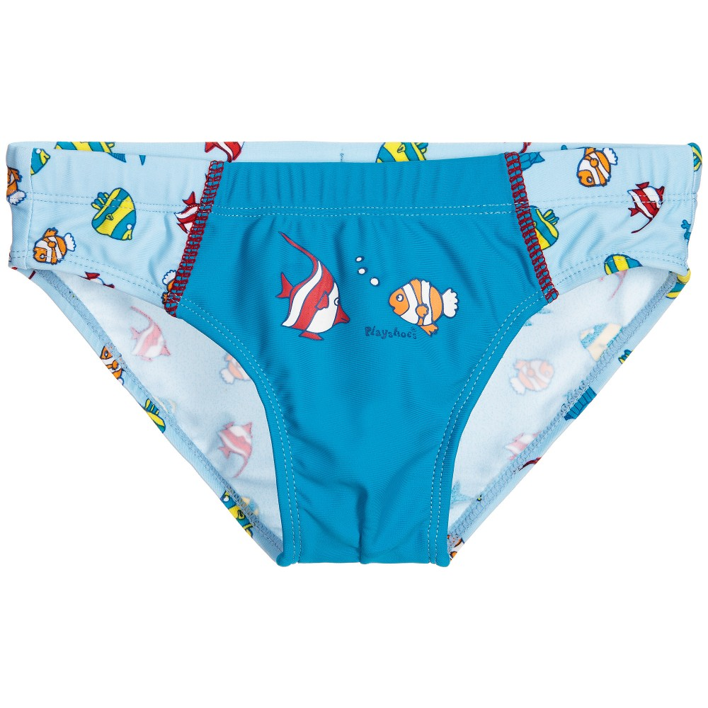 Playshoes Boys Blue Fish Swim Trunks Uv80 Childrensalon
